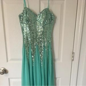 JCPenney Light Blue Sequin Prom Dress